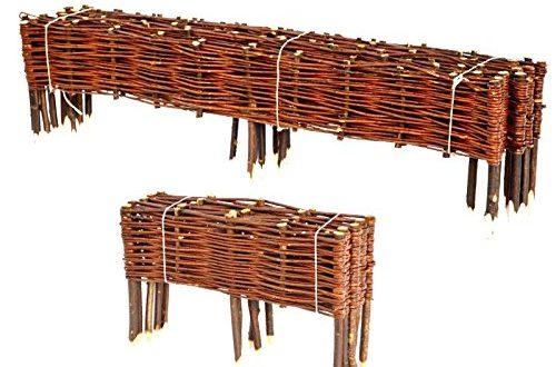 BooGardi Beetbegrenzung aus Weide · Beeteinfassung in Vielen Größen (20 x 100 cm Einzelnes Element) · Weidenzaun zur Beet-Umrandung oder Weg-Abgrenzung