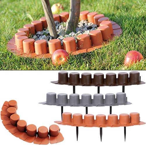 Deuba Rasenkante Palisade Beeteinfassung Kante grau 32er Set 16,2m elastisch witterungsbeständig Beetumrandung Garten