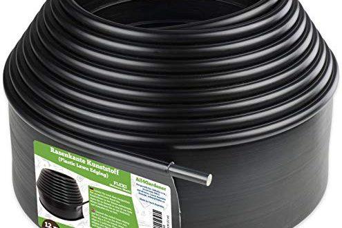 Flexible Rasenkante Kunststoff mit runden Oberkante (6 m, schwarz) - Robustes Stay-in-Place Design - Verhindert das Durchwachsen von Rasen - Einfache Montage, Beeteinfassung aus recyceltem Plastik