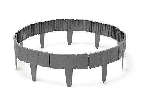 Relaxdays Rasenkante in Steinoptik 10 teilige Umrandung fuer Beete Maehkante Kunststoff 500x330 - Relaxdays Rasenkante in Steinoptik, 10-teilige Umrandung für Beete, Mähkante Kunststoff, HxBxT: 10 x 250 x 2 cm, grau