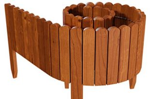 Floranica® Flexibeler Beetzaun 203 cm (kürzbar) aus Holz als Steckzaun Rollborder, Beeteinfassung, Kanteneinfassung, Rasenkante oder Palisade - wetterfest imprägniert, Farbe:braun, Höhe:20 cm