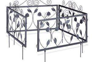 Relaxdays Beetzaun Metall GOTH, Nostalgischer Stil, Beeteinfassung zum Stecken, 4 Zaunelemente 33,5 x 56,5 cm, schwarz