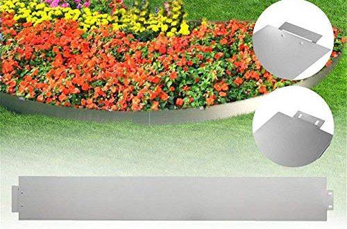 Aufun Rasenkante Metall 30 m x 18 cm Verzinkt Beetumrandung Beeteinfassung Mähkante Palisade 30 Stücke 100 cm x 18 cm (L x H) Rasenkante Verzinkt